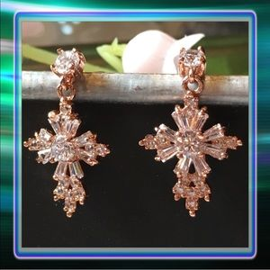 """Jewelry - AAA CZ Cross Earrings 1/2"""" Tall"""